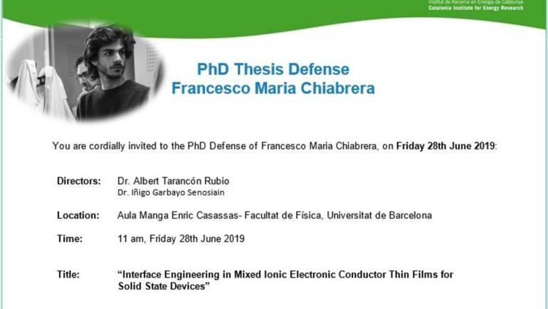 PhD Thesis Defense Francesco Maria Chiabrera