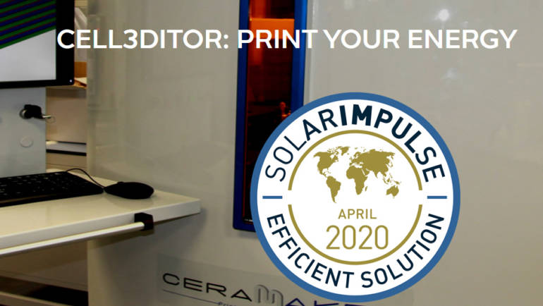 Cell3Ditor obtains the Solar Impulse label